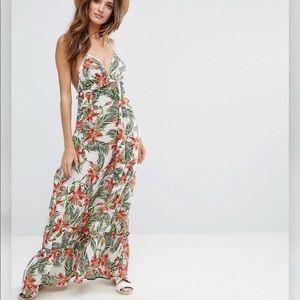 tropical floral & palms beach maxi dress